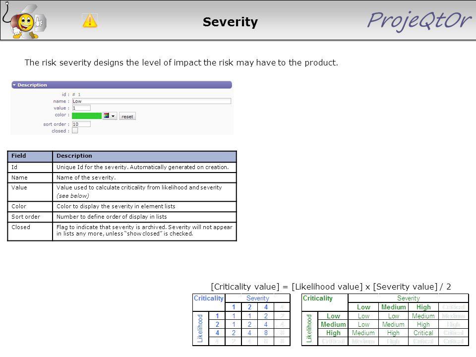 [Criticality value] = [Likelihood value] x [Severity value] / 2